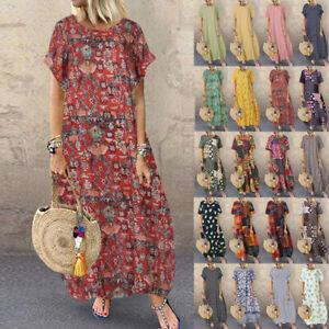 ZANZEA Womens Short Sleeve Floral Baggy Casual Loose Kaftan Maxi Dress Plus Size