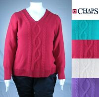 NEW Women's CHAPS Cable Knit V-Neck Sweater Long Sleeve Plus size