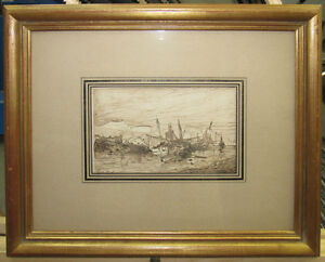 Eugene Deshayes 1860s Old Master Drawing Boats by Shore Listed French Realist