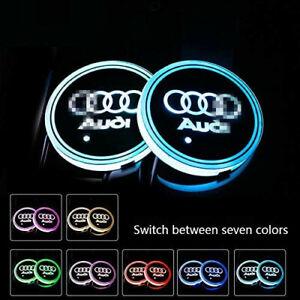 2PCS LED Car Cup Holder Lights Pad for Audi 7 Colors USB Charging LED Lamp