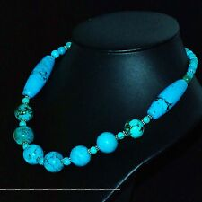 Fashion Howlite Turquoise Stone Spacer Bead Statement Link Chain Women Necklace