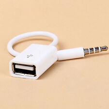 White Male AUX Audio Plug Jack To USB 2.0 Female Converter Car Adapter Cable New