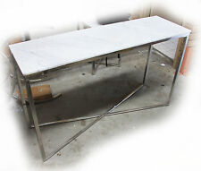 Gisela 1300x400 Stainless Steel & White Marble Console / Hall Table - BRAND NEW