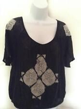 NEW FREE PEOPLE BLACK WOMEN TOP WITH EMBROIDERY SIZE M 100% COTTON/LINEN/RAYON