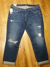Silver Sam Boyfriend Slim Leg Jeans Size 18 L 27 Mid Rise Dark Distressed NWT
