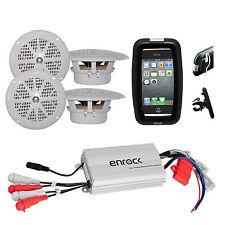 "Pyle Marine Boat Bike ATV Outdoor 4"" Speakers, 800W iPod Input Amplifier, Case"