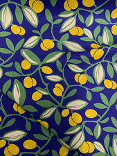 Blue & Yellow Fruit & Leaves Leaf Printed 100% Cotton Poplin Fabric