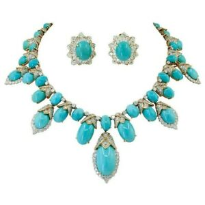 Blue Turquoise Handcrafted Prong CZ 14k Studded Womens Necklace & Earrings