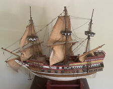 Authentic Ship Model Wooden Sailing Galleon Hand Painted Vintage Golden Hinde