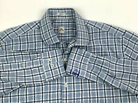 Peter Millar Mens L Button Front Shirt Long Sleeve Blue White Tartan Plaid