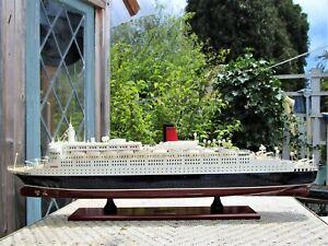 "Queen Elizabeth II High Quality Wooden Model Ship 31"" Cunard Fully Assembled"