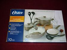 Oster 10-piece Cookware Set Multi-size ceramic with utensils, NEW