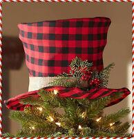 BUFFALO PLAID TOP HAT CHRISTMAS TREE TOPPER Holiday Festive Ornament Decoration