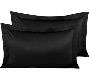 "Satin like King Pillow Shams Pair Luxury Soft Shiny Black 20""x36"" Easy Care"
