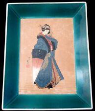 Superb Antique Vintage Japanese Signed Painting on porcelain Geisha Green frame