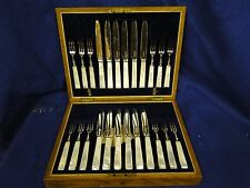 SILVER PLATED FLATWARE SERVICE FOR 12 BOXED, ANTIQUE 1860, MOTHER OF PEARL
