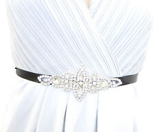 Black Silver Diamante Belt 1920s Flapper Prom Great Gatsby Vintage Art Deco 1020