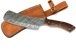 Handmade Damascus Steel 12 Inches Cleaver Style Knife – Solid Rose Wood Handle