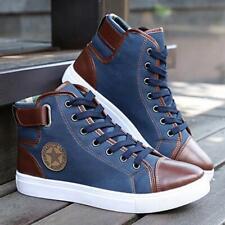 Moda Hombre oxfords Casual alta Top Zapatos Cuero Zapatos Zapatillas De Lona Botas