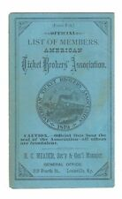 1883 American Ticket Brokers Assoc. Member List Booklet Railroad Tickets