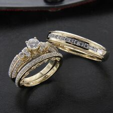 18k Yellow Gold Over Diamond Wedding His & Her Trio Set Bridal Engagement Ring