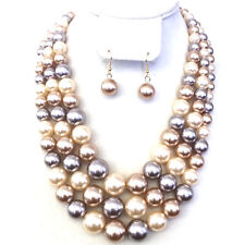 3 Multi Strand Necklace,Earrings Set Champagne, Cream, Coffee Layered Pearl