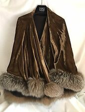 Vintage Brown Velvet SWING OPERA Cape, Beautiful Natural Fox Fur Trim ONE SIZE