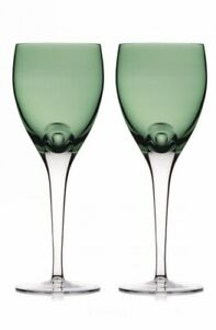 NEW Waterford Crystal FERN GREEN Wine GOBLET Glass - SET 2 - W COLLECTION Pair