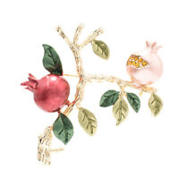 Crystals Red Enamel Pomegranate Fruit Brooch Pin Broach For Woman Jewelry