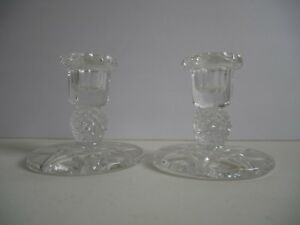 Set of 2 Depression Glass Candlestick Holders Excellent Condition