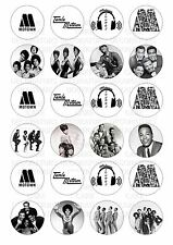24 Motown Wafer / Rice Paper Cupcake Topper Edible Fairy Cake Bun Toppers