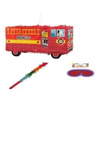 Red Fire Truck Fire Engine 3D Pinata Stick & Blindfold Birthday Party Toy