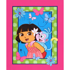 """NEW Dora The Explorer & Boots 100% cotton Fabric by the panel (43"""" X 36"""")"""