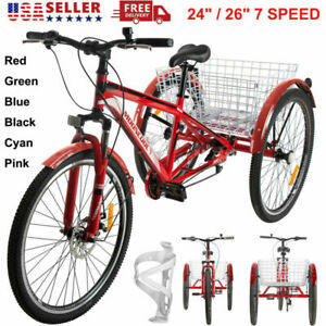 """7 Speed MTB Tricycle 24""""/26"""" Front Suspension Mountain Bike Bicycle Disc Brakes"""