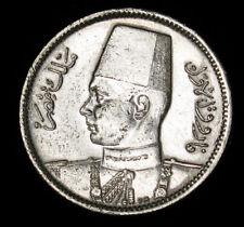 1361 (1942) Egypt 2 Piastres silver coin rare countermark near rim