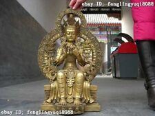 Tibet Buddhism fane brass Copper sit Green TARA Kwan-Yin Guan Yin buddha Statue