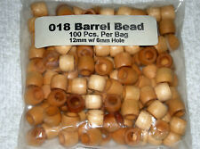 """New listing Lot Of 100 12Mm"""" W/ 6Mm"""" Hole Wood Barrel Beads Jewelry Crafts New Sealed"""