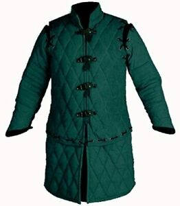 Medieval Thick Padded Full Sleeves Gambeson Coat Aketon Jacket Armor, Cotton Fab