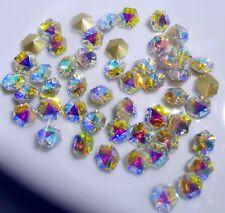 8mm 50Pcs High Quality Glass Cystals Clear Ab Octagonal Nail Art Jewelry Diy
