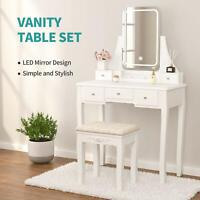 Vanity Set w/ Lighted Mirror Dimming - Dressing Table w/ Stool, 5 Drawers, White