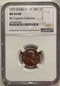 1972/72 DOUBLED DIE OBVERSE LINCOLN CENT - NGC MS-65 RD, BLAZING GEM