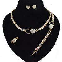 Women Hugs & Kisses Xo Necklace Ring Bracelet & Earrings set 18k Layered Real...