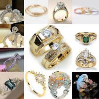 Fashion Women's Zircon Wedding Rings Stainless Steel Crystal Engagement Ring Set