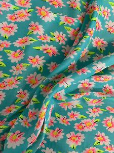 3.6 Metres Aqua Daisy Flowers Floral Printed Peachskin Dress Fabric 152cm Wide.