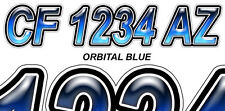 ORBITAL BLUE Custom Boat Registration Numbers Decals Vinyl Lettering Stickers