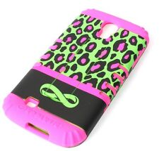 Samsung Galaxy S4 -HARD & SOFT RUBBER HYBRID CASE PINK GREEN LEOPARD CHEETAH