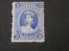 QUEENSLAND, SCOTT # 74, 2/-. VALUE ULTRA ON THIN PAPER 1882-85  QV ISSUE. USED