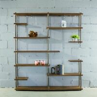 Nashville Industrial Mid-Century  64-Inch Wide Large Open Etagere 11-Shelf Pi...
