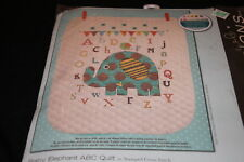 Baby Elephant ABC quilt Stamped cross stitch kit NIP