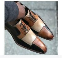 Handmade men 3 tone shoes, men dress formal shoes, real leather lace up shoes